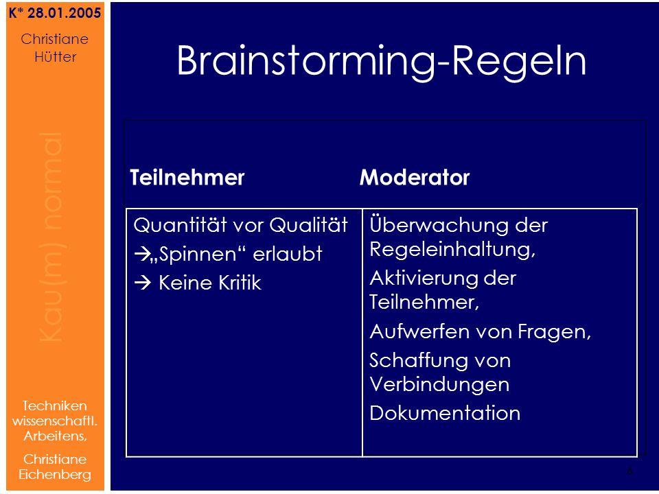 Brainstorming Referat von Christiane Hütter 6 Kau(m) normal Referat von Christiane Hütter IFS 2004 6 Kau(m) normal 6 Techniken wissenschaftl. Arbeiten