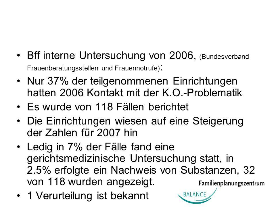 Bff interne Untersuchung von 2006, (Bundesverband Frauenberatungsstellen und Frauennotrufe) : Nur 37% der teilgenommenen Einrichtungen hatten 2006 Kon