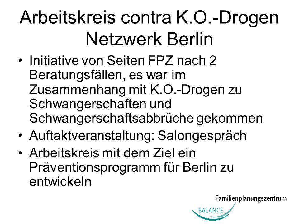Arbeitskreis contra K.O.-Drogen Netzwerk Berlin Initiative von Seiten FPZ nach 2 Beratungsfällen, es war im Zusammenhang mit K.O.-Drogen zu Schwangers