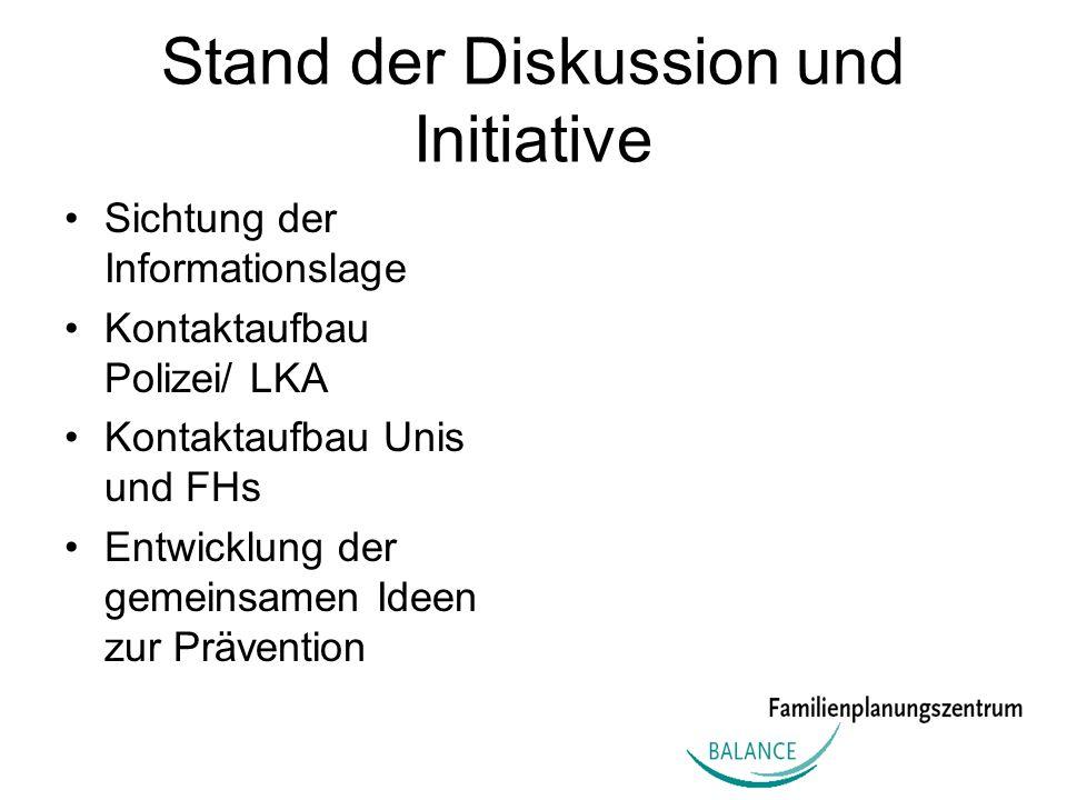 Stand der Diskussion und Initiative Sichtung der Informationslage Kontaktaufbau Polizei/ LKA Kontaktaufbau Unis und FHs Entwicklung der gemeinsamen Id