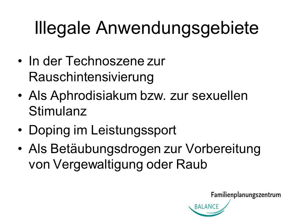 Illegale Anwendungsgebiete In der Technoszene zur Rauschintensivierung Als Aphrodisiakum bzw. zur sexuellen Stimulanz Doping im Leistungssport Als Bet