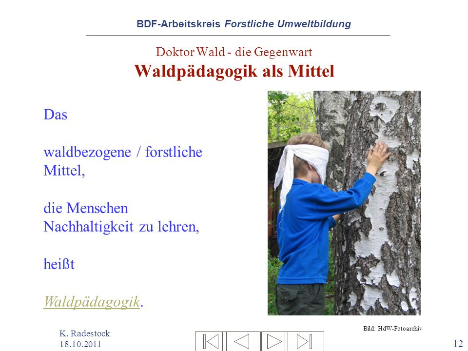 BDF-Arbeitskreis Forstliche Umweltbildung K. Radestock 18.10.2011 12 Doktor Wald - die Gegenwart Waldpädagogik als Mittel Das waldbezogene / forstlich