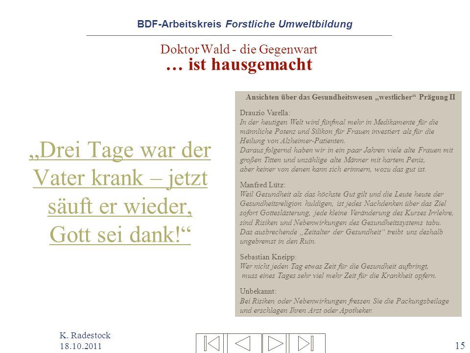 BDF-Arbeitskreis Forstliche Umweltbildung K. Radestock 18.10.2011 15 Doktor Wald - die Gegenwart … ist hausgemacht Drei Tage war der Vater krank – jet