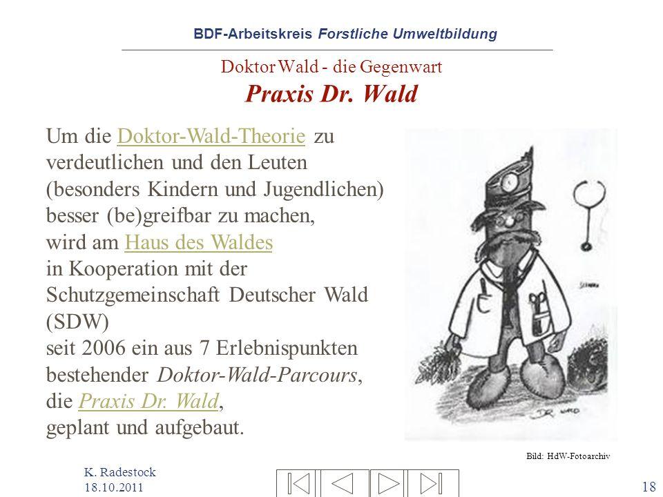 BDF-Arbeitskreis Forstliche Umweltbildung K. Radestock 18.10.2011 18 Doktor Wald - die Gegenwart Praxis Dr. Wald Um die Doktor-Wald-Theorie zu verdeut