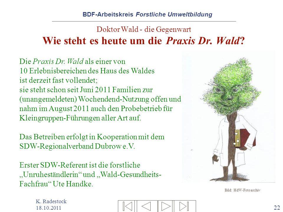 BDF-Arbeitskreis Forstliche Umweltbildung K. Radestock 18.10.2011 22 Doktor Wald - die Gegenwart Wie steht es heute um die Praxis Dr. Wald? Die Praxis
