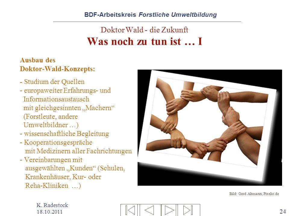 BDF-Arbeitskreis Forstliche Umweltbildung K. Radestock 18.10.2011 24 Doktor Wald - die Zukunft Was noch zu tun ist … I Ausbau des Doktor-Wald-Konzepts