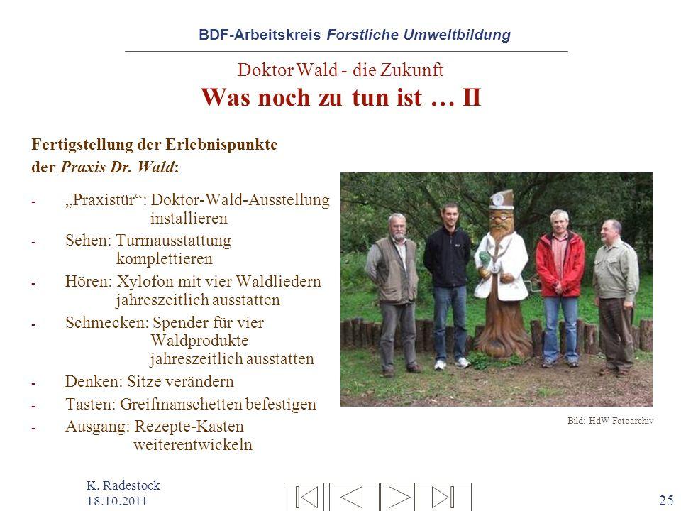 BDF-Arbeitskreis Forstliche Umweltbildung K. Radestock 18.10.2011 25 Doktor Wald - die Zukunft Was noch zu tun ist … II Fertigstellung der Erlebnispun