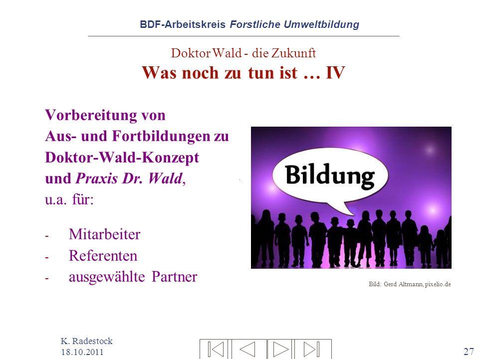BDF-Arbeitskreis Forstliche Umweltbildung K. Radestock 18.10.2011 27 Doktor Wald - die Zukunft Was noch zu tun ist … IV Vorbereitung von Aus- und Fort
