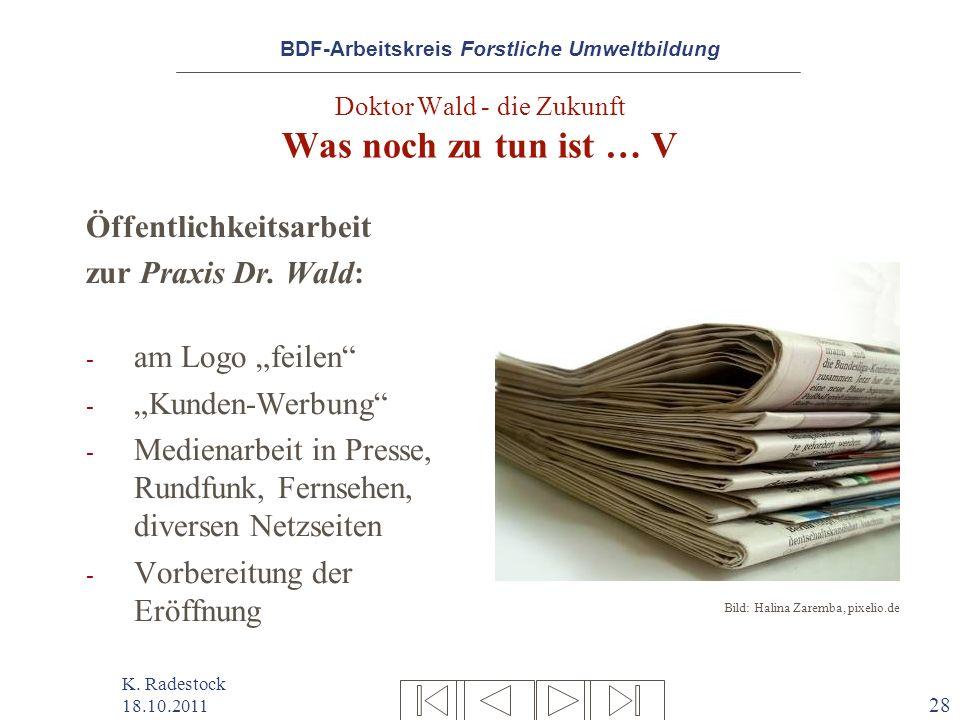 BDF-Arbeitskreis Forstliche Umweltbildung K. Radestock 18.10.2011 28 Doktor Wald - die Zukunft Was noch zu tun ist … V Öffentlichkeitsarbeit zur Praxi