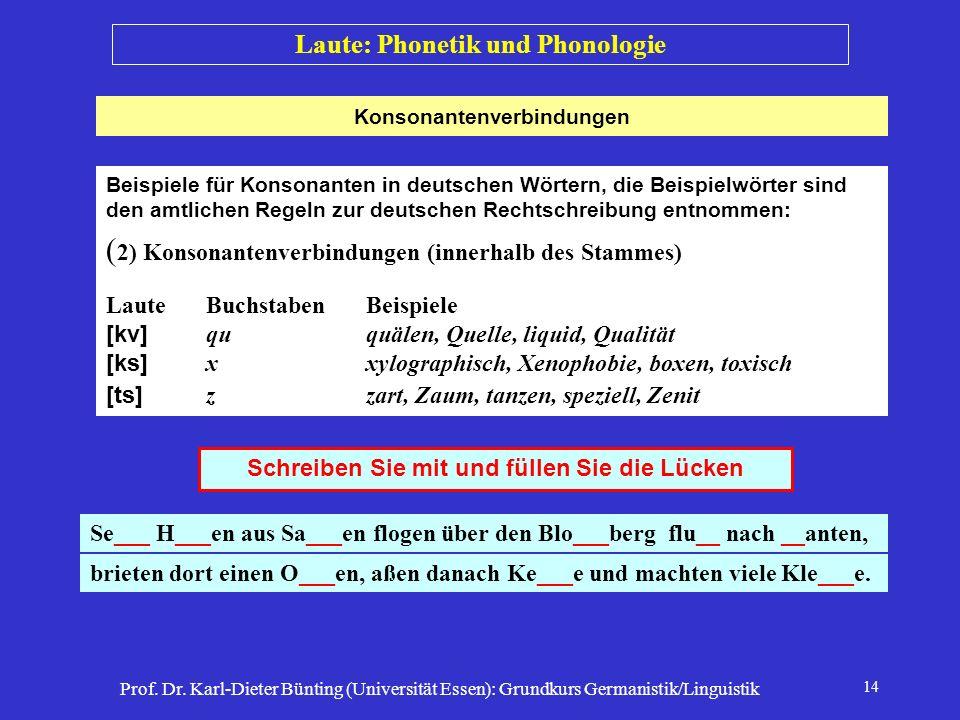 Prof. Dr. Karl-Dieter Bünting (Universität Essen): Grundkurs Germanistik/Linguistik 14 Laute: Phonetik und Phonologie Beispiele für Konsonanten in deu