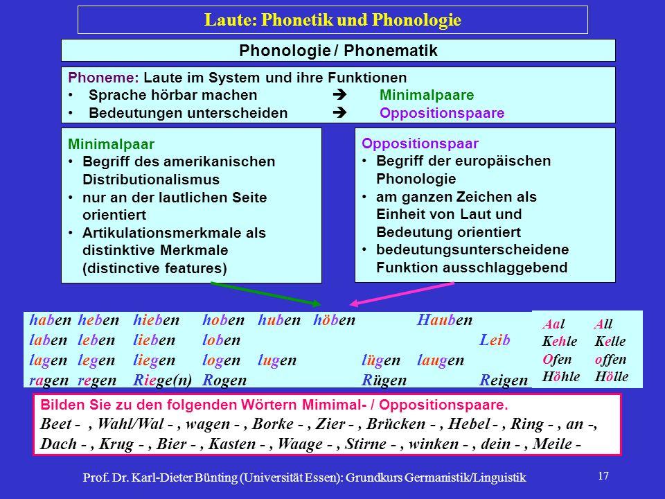 Prof. Dr. Karl-Dieter Bünting (Universität Essen): Grundkurs Germanistik/Linguistik 17 Phonologie / Phonematik Phoneme: Laute im System und ihre Funkt