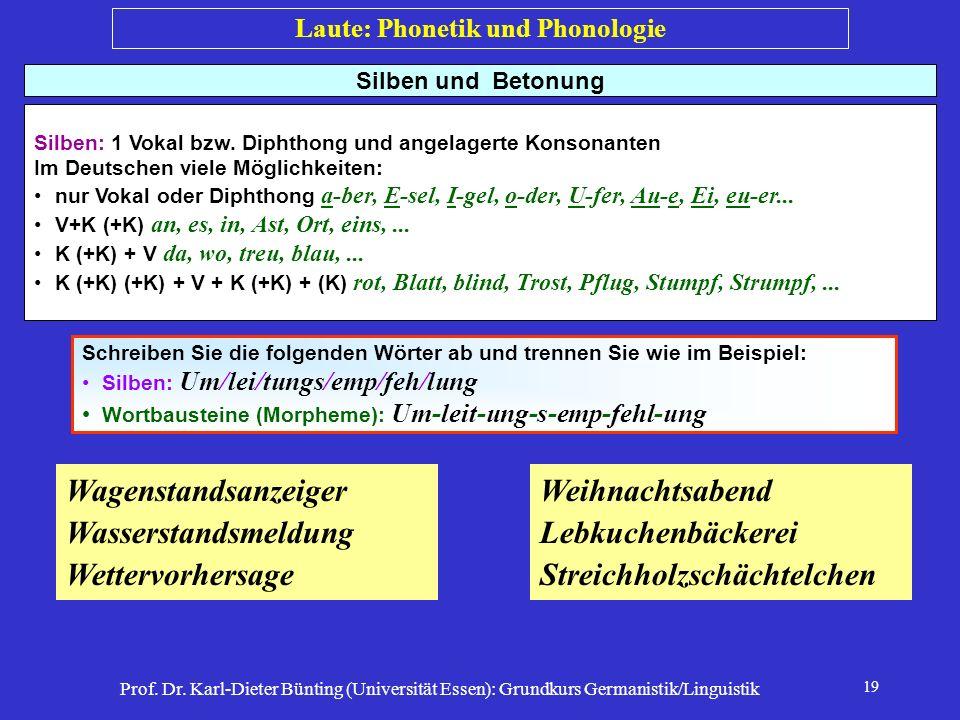 Prof. Dr. Karl-Dieter Bünting (Universität Essen): Grundkurs Germanistik/Linguistik 19 Silben und Betonung Silben: 1 Vokal bzw. Diphthong und angelage