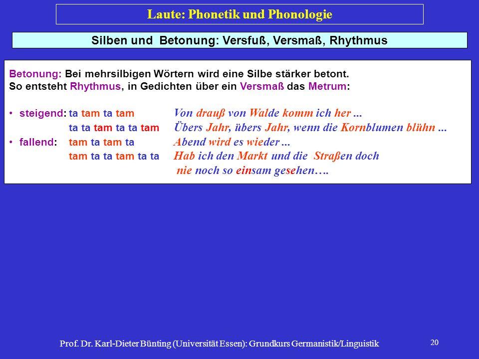 Prof. Dr. Karl-Dieter Bünting (Universität Essen): Grundkurs Germanistik/Linguistik 20 Silben und Betonung: Versfuß, Versmaß, Rhythmus Betonung: Bei m