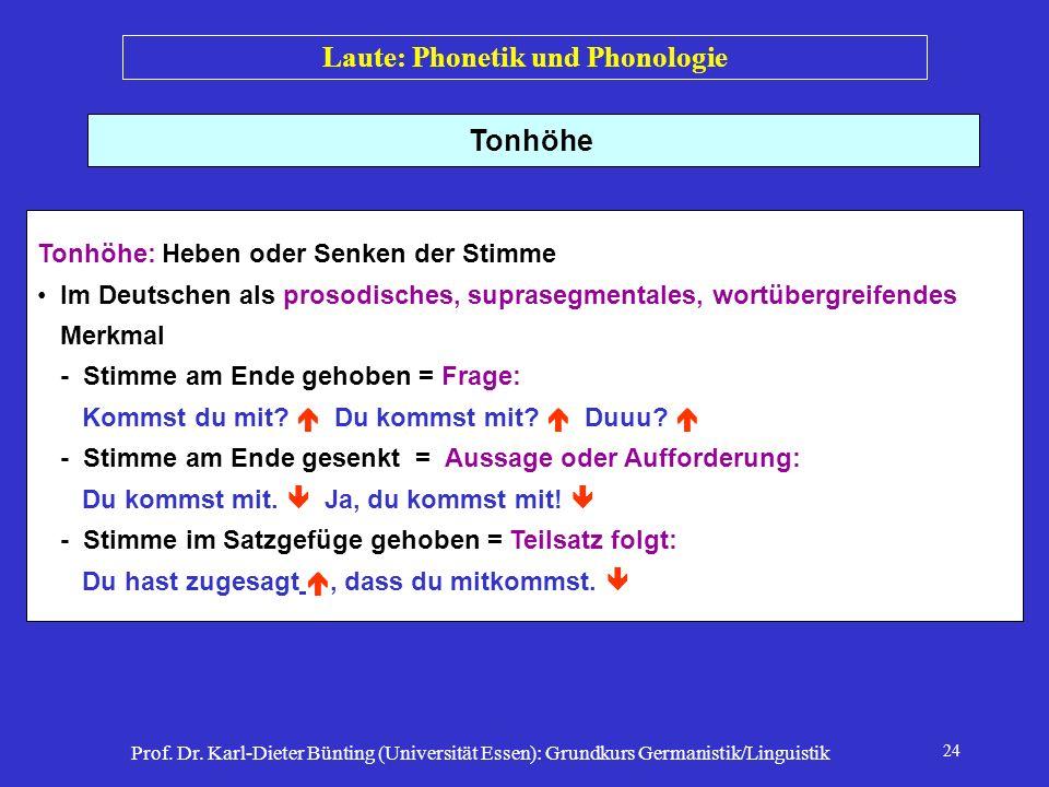 Prof. Dr. Karl-Dieter Bünting (Universität Essen): Grundkurs Germanistik/Linguistik 24 Tonhöhe Tonhöhe: Heben oder Senken der Stimme Im Deutschen als