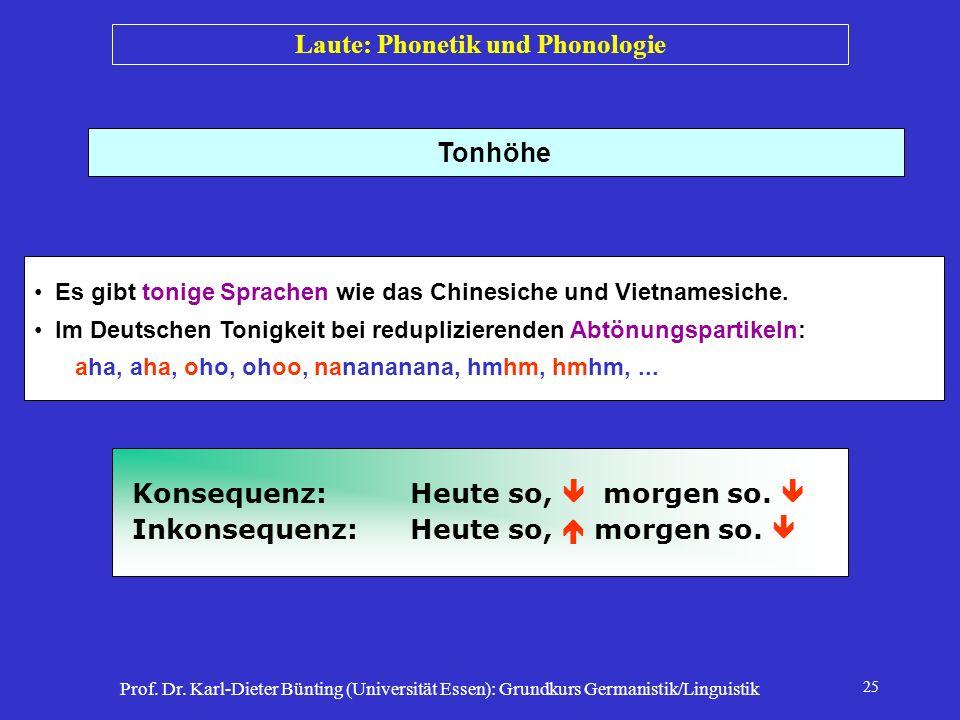 Prof. Dr. Karl-Dieter Bünting (Universität Essen): Grundkurs Germanistik/Linguistik 25 Tonhöhe Es gibt tonige Sprachen wie das Chinesiche und Vietname