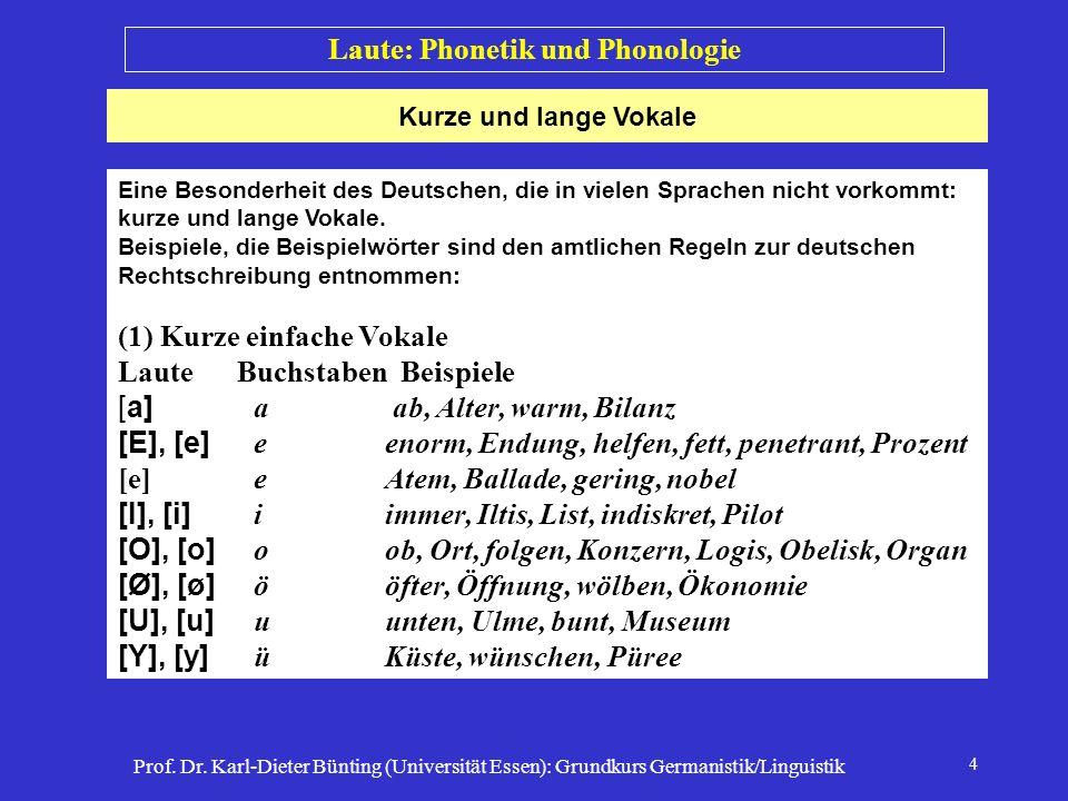 Prof. Dr. Karl-Dieter Bünting (Universität Essen): Grundkurs Germanistik/Linguistik 4 Kurze und lange Vokale Laute: Phonetik und Phonologie Eine Beson