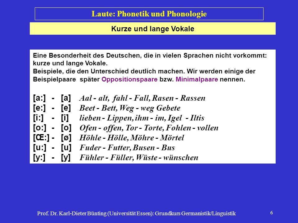 Prof. Dr. Karl-Dieter Bünting (Universität Essen): Grundkurs Germanistik/Linguistik 6 Kurze und lange Vokale Laute: Phonetik und Phonologie Eine Beson
