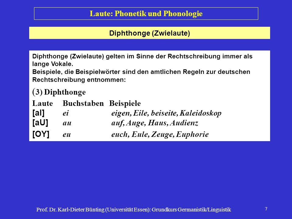 Prof. Dr. Karl-Dieter Bünting (Universität Essen): Grundkurs Germanistik/Linguistik 7 Diphthonge (Zwielaute) Laute: Phonetik und Phonologie Diphthonge