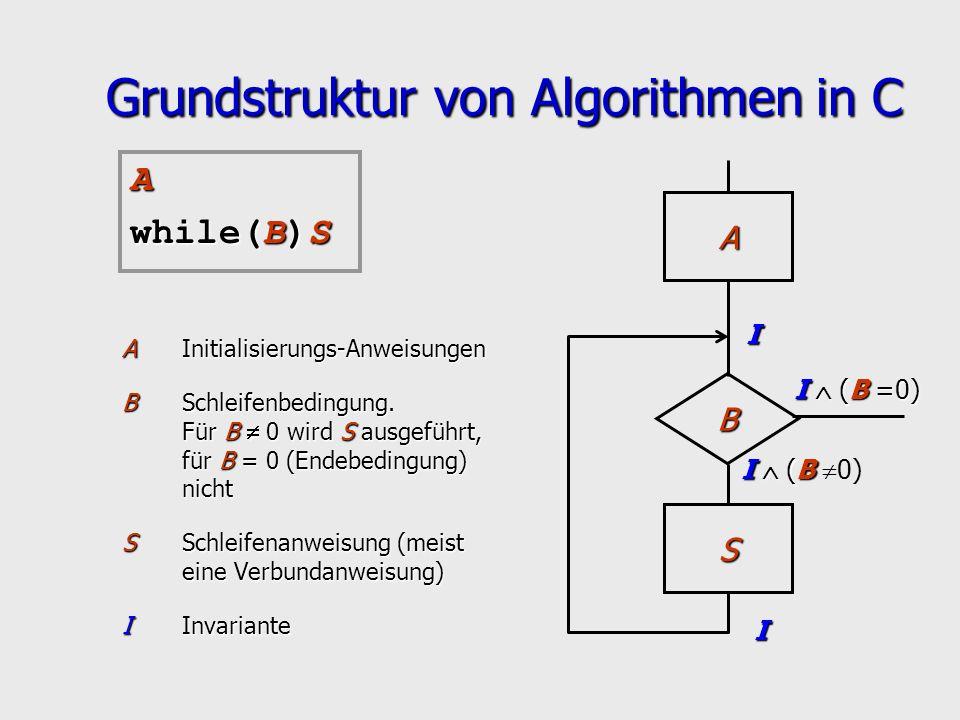 Grundstruktur von Algorithmen in C AInitialisierungs-Anweisungen BSchleifenbedingung. Für B 0 wird S ausgeführt, für B = 0 (Endebedingung) nicht SSchl