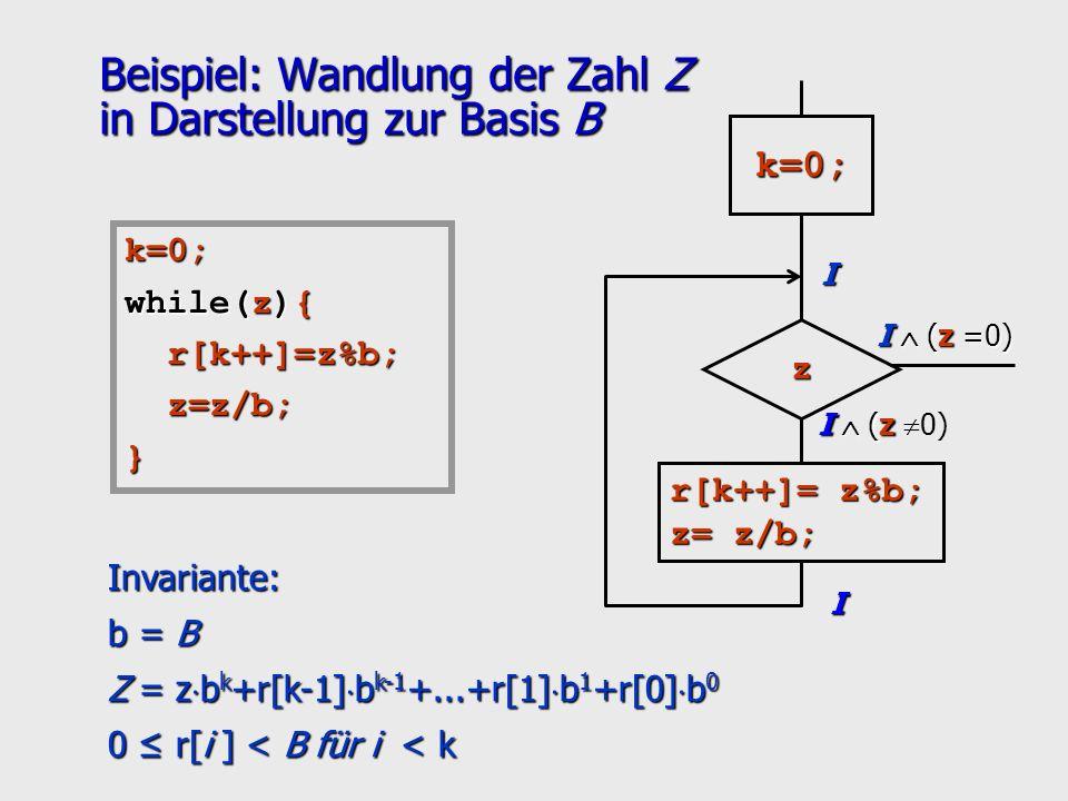 Beispiel: Wandlung der Zahl Z in Darstellung zur Basis B I (z I (z 0) I (z =0) I I z r[k++]= z%b; z= z/b; k=0; k=0; while(z){ r[k++]=z%b; r[k++]=z%b;