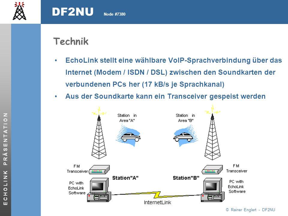 © Rainer Englert - DF2NU DF2NU Node #7380 E C H O L I N K P R Ä S E N T A T I O N Technik EchoLink stellt eine wählbare VoIP-Sprachverbindung über das Internet (Modem / ISDN / DSL) zwischen den Soundkarten der verbundenen PCs her (17 kB/s je Sprachkanal) Aus der Soundkarte kann ein Transceiver gespeist werden