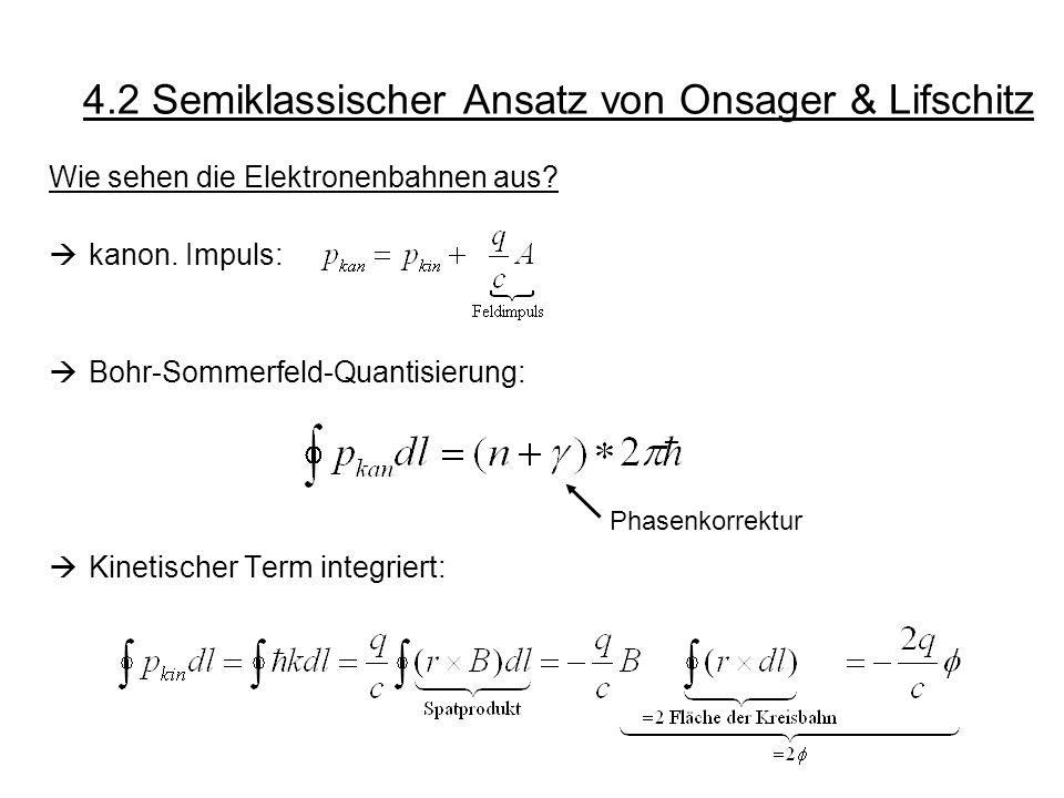 4.2 Semiklassischer Ansatz von Onsager & Lifschitz Wie sehen die Elektronenbahnen aus? kanon. Impuls: Bohr-Sommerfeld-Quantisierung: Kinetischer Term