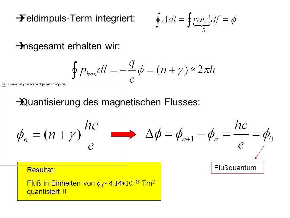 Resultat: Fluß in Einheiten von Tm 2 quantisiert !! Feldimpuls-Term integriert: Insgesamt erhalten wir: Quantisierung des magnetischen Flusses: Flußqu
