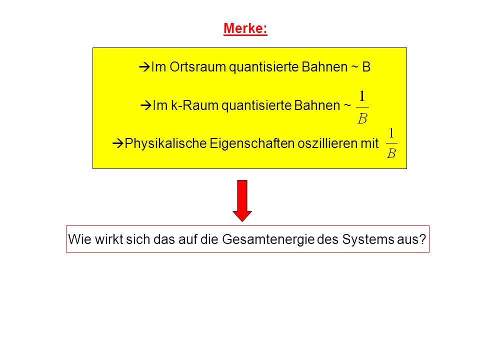 Merke: Im Ortsraum quantisierte Bahnen ~ B Im k-Raum quantisierte Bahnen ~ Physikalische Eigenschaften oszillieren mit Wie wirkt sich das auf die Gesa