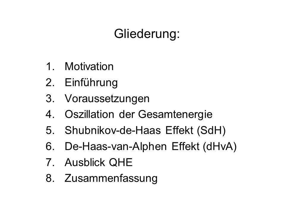 Gliederung: 1.Motivation 2.Einführung 3.Voraussetzungen 4.Oszillation der Gesamtenergie 5.Shubnikov-de-Haas Effekt (SdH) 6.De-Haas-van-Alphen Effekt (