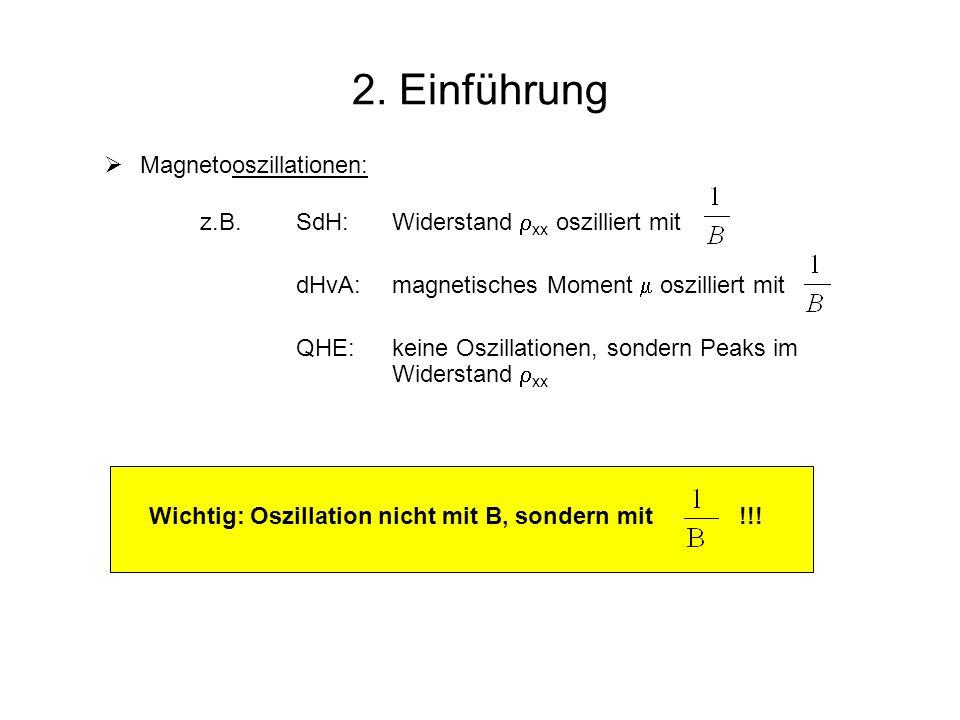 2. Einführung Magnetooszillationen: z.B.SdH: Widerstand xx oszilliert mit dHvA:magnetisches Moment oszilliert mit QHE:keine Oszillationen, sondern Pea