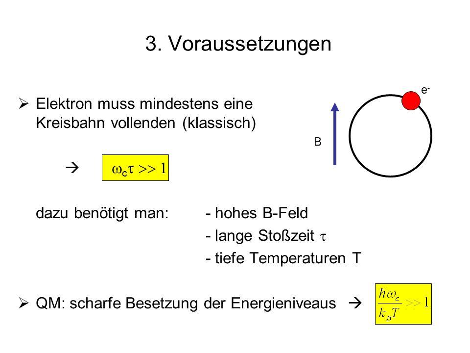 Elektron muss mindestens eine Kreisbahn vollenden (klassisch) c dazu benötigt man:- hohes B-Feld - lange Stoßzeit - tiefe Temperaturen T QM: scharfe B