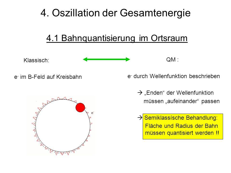 QM : e - durch Wellenfunktion beschrieben Enden der Wellenfunktion müssen aufeinander passen Semiklassísche Behandlung: Fläche und Radius der Bahn müs