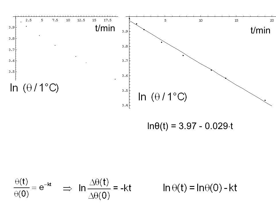 Die Temperaturdifferenz zwischen Kaffee in der Kaffetasse (T) und der Umgebung (T = const.) klingt vorwiegend aufgrund von Wärmeleitung exponentiell m