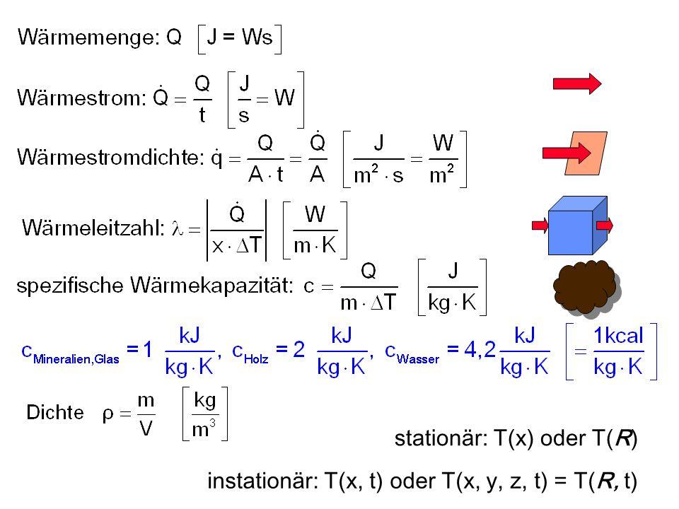 stationär: T(x) oder T(R) instationär: T(x, t) oder T(x, y, z, t) = T(R, t)