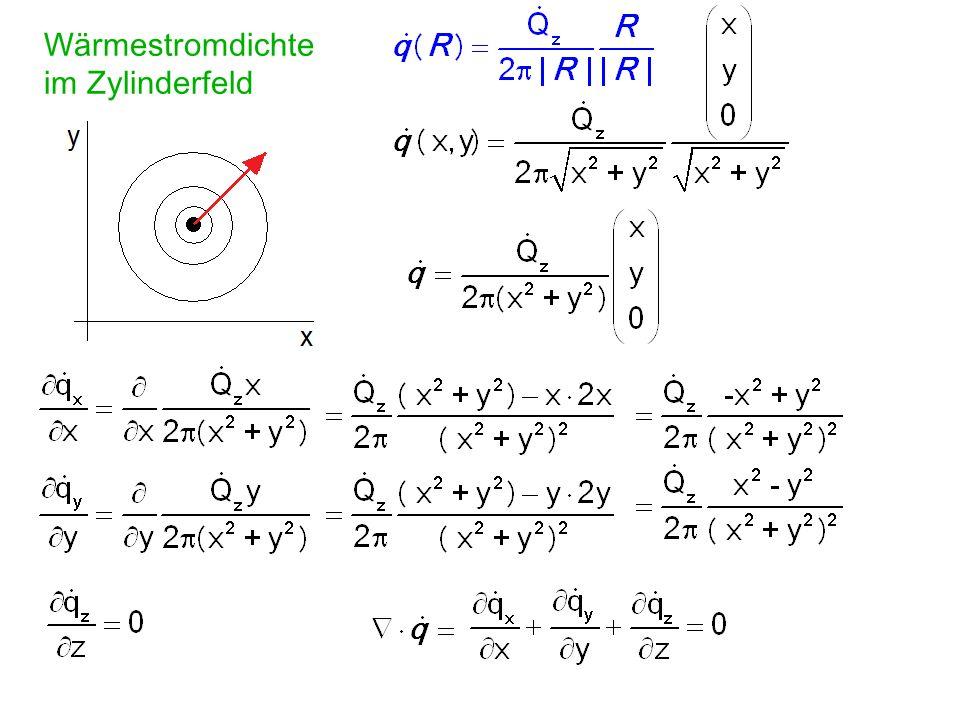 Das Feld ist quellenfrei / senkenfrei, d. h. Wärme staut sich nicht, wenn (Divergenz) netto in dV strömende Leistung = 0