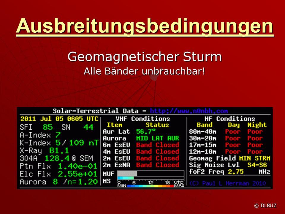 Ausbreitungsbedingungen Geomagnetischer Sturm Alle Bänder unbrauchbar! © DL8UZ