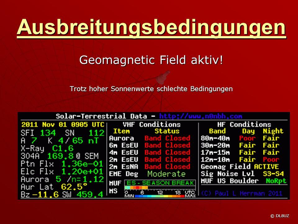 Ausbreitungsbedingungen Geomagnetic Field aktiv.