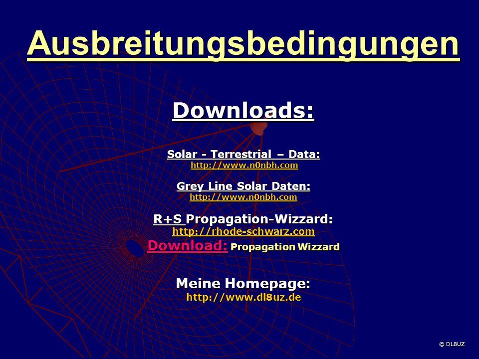 Ausbreitungsbedingungen Downloads: Solar - Terrestrial – Data: http://www.n0nbh.com http://www.n0nbh.comhttp://www.n0nbh.com Grey Line Solar Daten: http://www.n0nbh.com R+S Propagation-Wizzard: http://rhode-schwarz.com Download: Propagation Wizzard Meine Homepage: http://www.dl8uz.de © DL8UZ