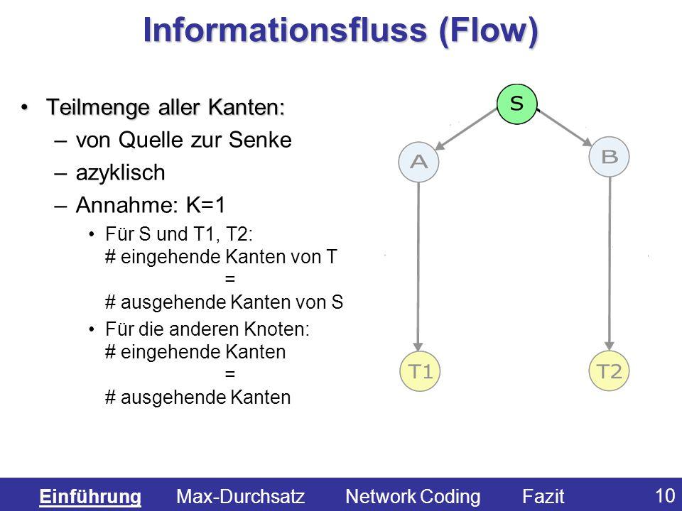 10 Informationsfluss (Flow) Teilmenge aller Kanten:Teilmenge aller Kanten: –von Quelle zur Senke –azyklisch –Annahme: K=1 Für S und T1, T2: # eingehen