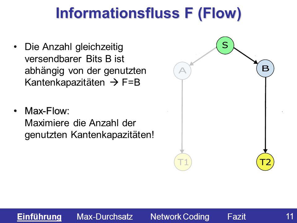11 Informationsfluss F (Flow) Die Anzahl gleichzeitig versendbarer Bits B ist abhängig von der genutzten Kantenkapazitäten F=B Max-Flow:Max-Flow: Maxi