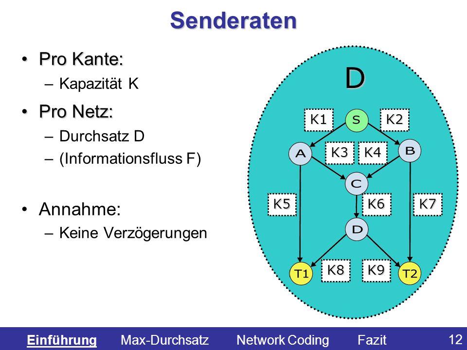 12 Senderaten Pro Kante:Pro Kante: –Kapazität K Pro Netz:Pro Netz: –Durchsatz D –(Informationsfluss F) Annahme: –Keine Verzögerungen K1 K3K4 K6 K5K7 K