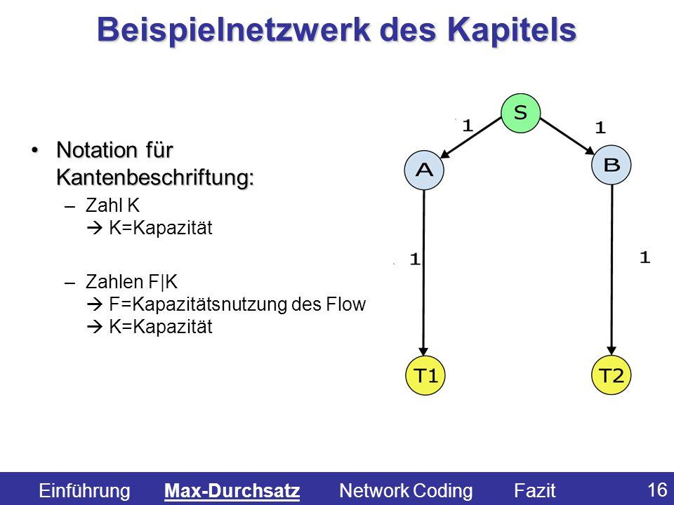 16 Notation für Kantenbeschriftung:Notation für Kantenbeschriftung: –Zahl K K=Kapazität –Zahlen F|K F=Kapazitätsnutzung des Flow K=Kapazität Beispieln