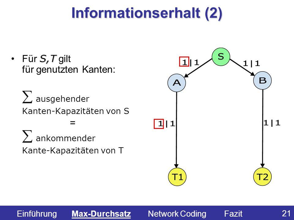 21 S,TFür S,T gilt für genutzten Kanten: ausgehender Kanten-Kapazitäten von S = ankommender Kante-Kapazitäten von T Informationserhalt (2) Einführung