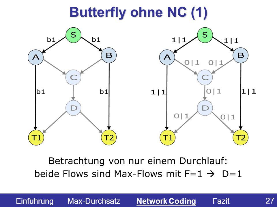 27 Betrachtung von nur einem Durchlauf: beide Flows sind Max-Flows mit F=1 D=1 Butterfly ohne NC (1) Einführung Max-Durchsatz Network Coding Fazit