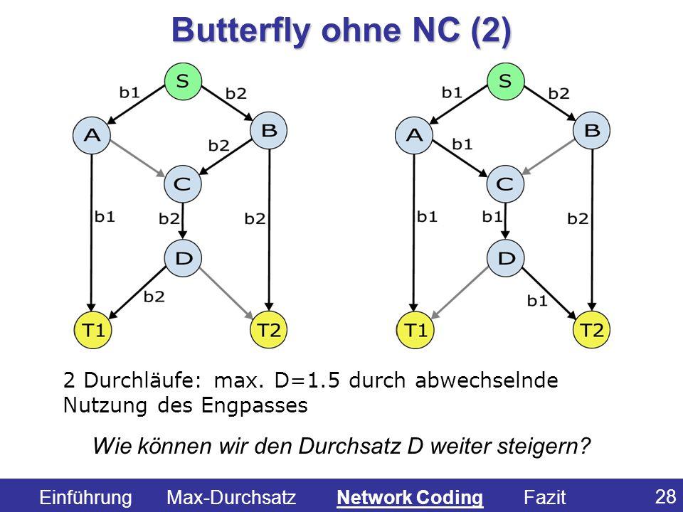 28 2 Durchläufe: max. D=1.5 durch abwechselnde Nutzung des Engpasses Wie können wir den Durchsatz D weiter steigern? Butterfly ohne NC (2) Einführung