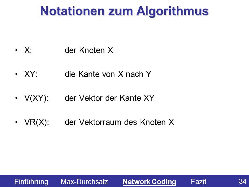 34 X:der Knoten X XY:die Kante von X nach Y V(XY):der Vektor der Kante XY VR(X): der Vektorraum des Knoten X Notationen zum Algorithmus Einführung Max