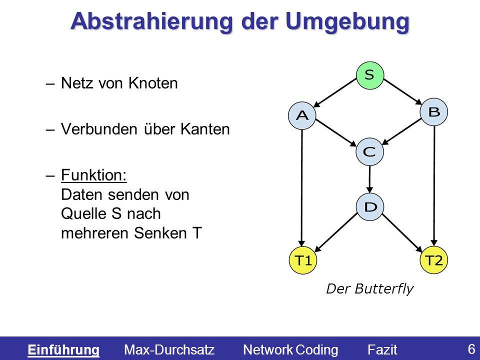 37 Fall 3: nur eine eingehende Kante WX j nach X j simples weiterleiten Fall 4: mehrere eingehende Kanten nach X j und eine oder mehrere ausgehende Kanten neue LK bilden 1.alle vorhandene Vektoren verknüpfen, z.B.: (1,1,1) 2.Telmengen der vorhandenen Vektoren verknüpfen, z.B.: (1,1,0) 3.Simples weiterleiten der ankommenden Vektoren Der Algorithmus (3) Einführung Max-Durchsatz Network Coding Fazit