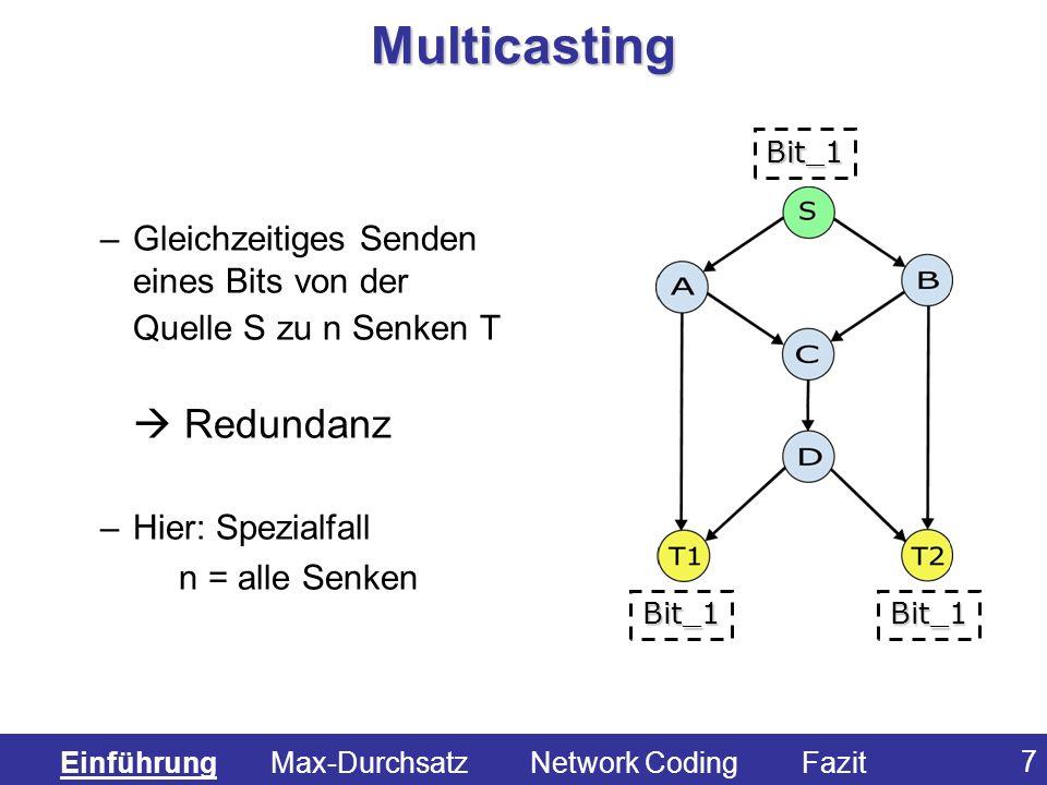 7 Multicasting –Gleichzeitiges Senden eines Bits von der Quelle S zu n Senken T Redundanz –Hier: Spezialfall n = alle Senken Bit_1 Bit_1Bit_1 Einführu