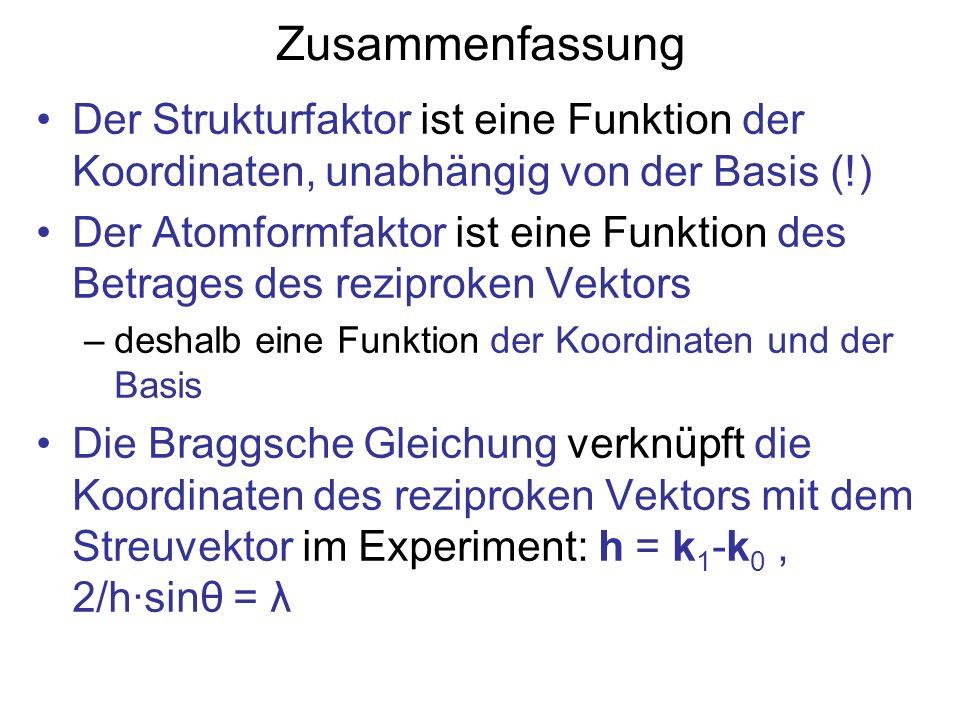 Zusammenfassung Der Strukturfaktor ist eine Funktion der Koordinaten, unabhängig von der Basis (!) Der Atomformfaktor ist eine Funktion des Betrages d