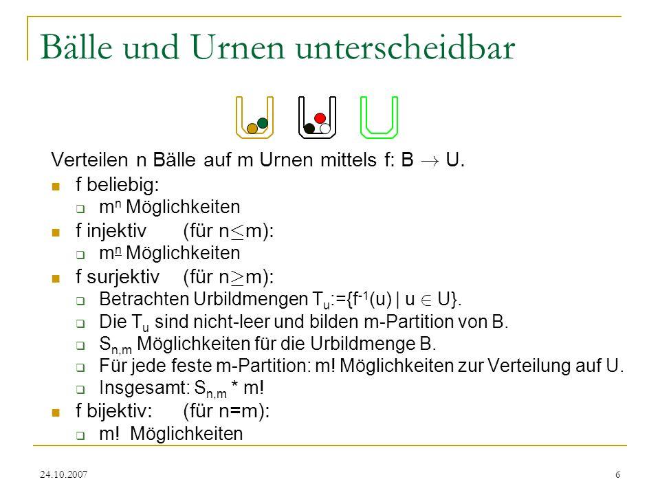 24.10.20076 Bälle und Urnen unterscheidbar Verteilen n Bälle auf m Urnen mittels f: B ! U. f beliebig: m n Möglichkeiten f injektiv (für n · m): m n M